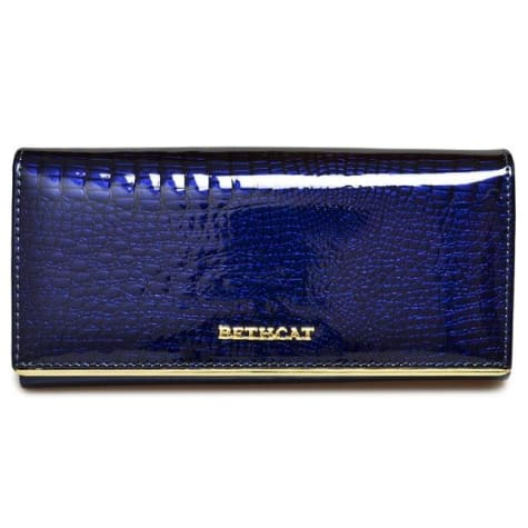 Beth Cat Women's Handcrafted Leather Wallet and Purse Dark Blue Premium Leather