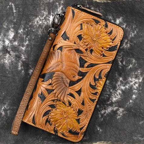 Birdsong Embossed Authentic Leather Wallet/wristlet Premium Leather