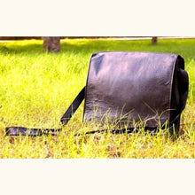Load image into Gallery viewer, Black Leather Laptop/messenger Bag. Premium Leather