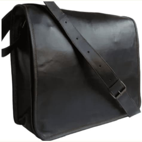 Black Leather Laptop/messenger Bag. Premium Leather
