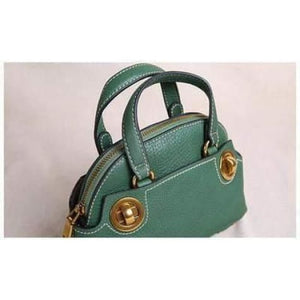 Brass Nob Leather Crossbody/purse & Shoulder Satchel Green Premium Leather
