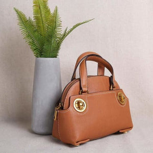 Brass Nob Leather Crossbody/purse & Shoulder Satchel Brown Premium Leather