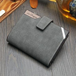 British top Grain Leather Casual Folding Wallet Grey Premium Leather