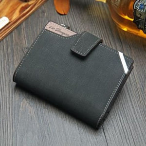 British top Grain Leather Casual Folding Wallet Dark Grey Premium Leather