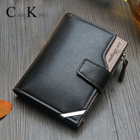 British top Grain Leather Casual Folding Wallet Black Premium Leather