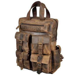 Buffalo Leather Vintage Backpack and Travel Bag Premium Leather