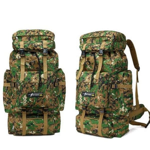 Camouflage Tactical Hiking/camping Backpack 70l Large Green Premium Leather