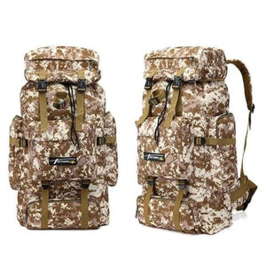Camouflage Tactical Hiking/camping Backpack 70l Large Tan Khaki Premium Leather