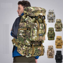 Load image into Gallery viewer, Camouflage Tactical Hiking/camping Backpack 70l Large Khacki Premium Leather