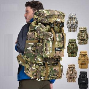 Camouflage Tactical Hiking/camping Backpack 70l Large Khacki Premium Leather