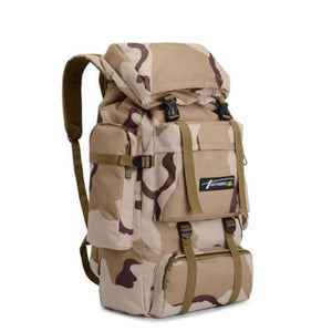Camouflage Tactical Hiking/camping Backpack 70l Large Tan Premium Leather