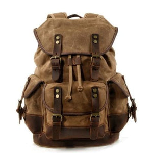 Canvas Camera Backpack Vintage Dslr Bag and Travel Khaki Premium Leather