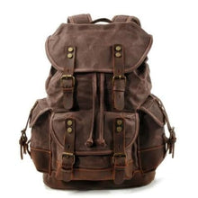 Load image into Gallery viewer, Canvas Camera Backpack Vintage Dslr Bag and Travel Coffee Premium Leather