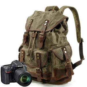 Canvas Camera Backpack Vintage Dslr Bag and Travel Army Green Premium Leather