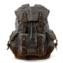 Load image into Gallery viewer, Canvas Camera Backpack Vintage Dslr Bag and Travel Dark Gray Premium Leather