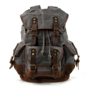 Canvas Camera Backpack Vintage Dslr Bag and Travel Dark Gray Premium Leather