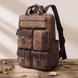 Canvas Laptop Backpack/travel Backpack Coffee Premium Leather