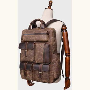 Canvas Laptop Backpack/travel Backpack Premium Leather