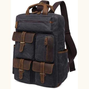 Canvas Laptop Backpack/travel Backpack Dark Green Premium Leather
