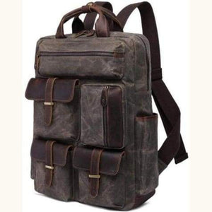 Canvas Laptop Backpack/travel Backpack Dark Grey Premium Leather
