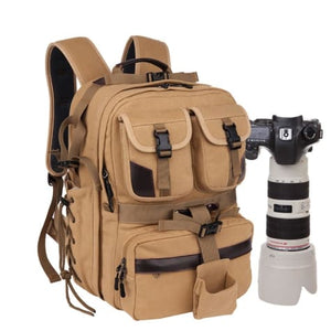 Canvas Large Capacity Dslr Camera Bag Backpack Khaki Premium Leather