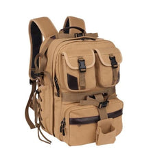 Load image into Gallery viewer, Canvas Large Capacity Dslr Camera Bag Backpack Premium Leather