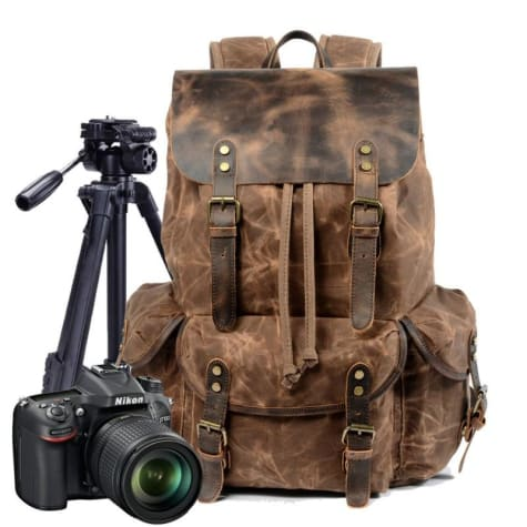 Canvas Photography Dslr Camera Backpack/travel Bag Premium Leather