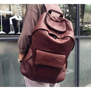 Casual Leather Laptop Backpack Made W/handcrafted full Grain Brown Premium Leather