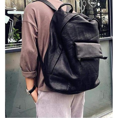 Casual Leather Laptop Backpack Made W/handcrafted full Grain Black Premium Leather