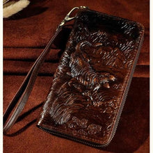 Load image into Gallery viewer, Cat Drogon Authentic Leather Wrist Wallet Clutch Coffee Tiger Premium Leather