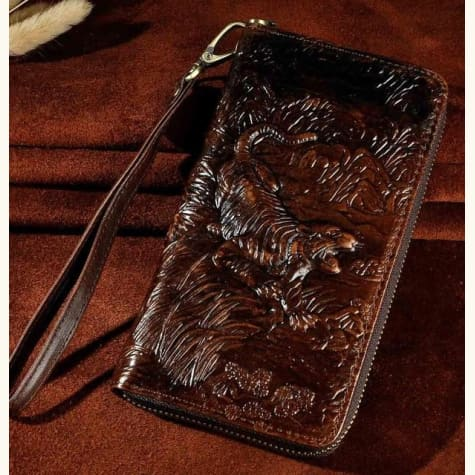 Cat Drogon Authentic Leather Wrist Wallet Clutch Coffee Tiger Premium Leather