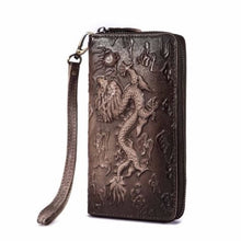 Load image into Gallery viewer, Cat Drogon Authentic Leather Wrist Wallet Clutch C-coffee-dragon Premium Leather