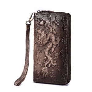 Cat Drogon Authentic Leather Wrist Wallet Clutch C-coffee-dragon Premium Leather