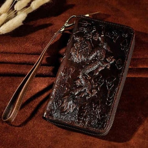 Cat Drogon Authentic Leather Wrist Wallet Clutch Coffee Dargon Premium Leather
