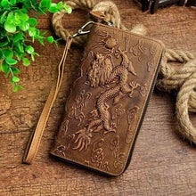 Load image into Gallery viewer, Cat Drogon Authentic Leather Wrist Wallet Clutch Brown Dargon Premium Leather