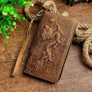 Cat Drogon Authentic Leather Wrist Wallet Clutch Brown Dargon Premium Leather