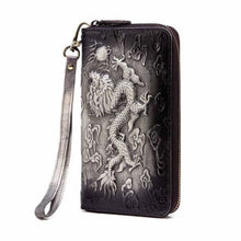 Load image into Gallery viewer, Cat Drogon Authentic Leather Wrist Wallet Clutch Dragon-black Premium Leather