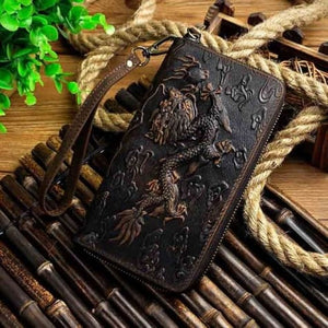 Cat Drogon Authentic Leather Wrist Wallet Clutch Dark Brown Dargon Premium Leather