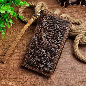 Cat Drogon Authentic Leather Wrist Wallet Clutch Brown Tiger Premium Leather