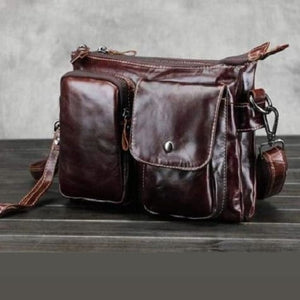 Cinnoman Full Grain Leather Crossbody Messenger Bag