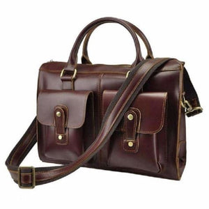 Classic Red Polished Women's Briefcase /satchel Premium Leather