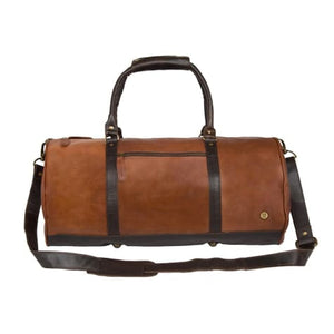 Cognac Leather Classic Duffle and Travel Bag Two Tone Premium Leather