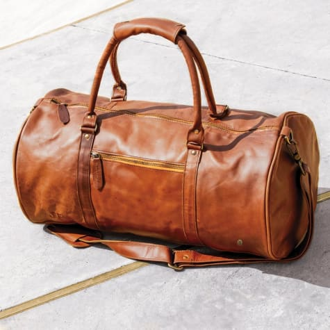 Cognac Leather Classic Duffle and Travel Bag Red Brown Premium Leather