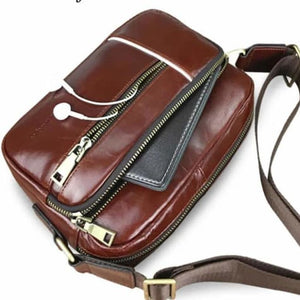 Contempo Leather Men's Messenger Bag Casual Crossbody 65697002817-chocolate Premium Leather