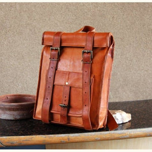 Contemporary full Grain Leather Roll top Backpack Premium Leather