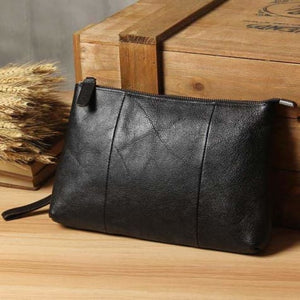 Contemporary Leather Clutch/handbag Black Premium Leather
