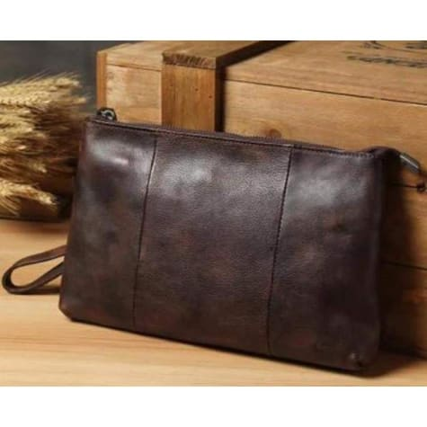 Contemporary Leather Clutch/handbag Brown Premium Leather
