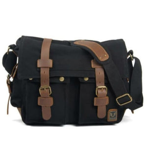 Cowboy Oilskin Canvas Dslr Camera/messenger Bag Black Premium Leather