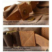 Load image into Gallery viewer, Cowboy Oilskin Canvas Dslr Camera/messenger Bag Premium Leather