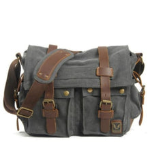 Load image into Gallery viewer, Cowboy Oilskin Canvas Dslr Camera/messenger Bag Dark Gray Premium Leather